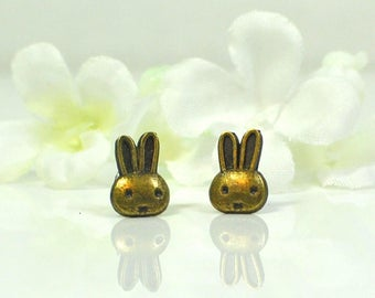 Bunny Rabbit Post Earrings Eenie Meenie - Bronze Bunny Rabbit Jewelry - Bunny Earrings - Pet Rabbit -Woodland Animal - Bunny Jewelry -Kawaii