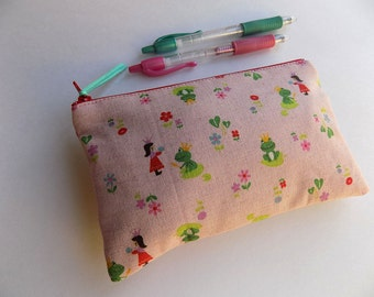Japanese Girl and Frog Fabric - Pencil Case Fabric Make up Bag Padded Pouch