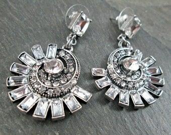 Wedding Earrings - Crystal Spiral - Rhinestone Earrings - Wedding Jewelry - Emerald Cut - Vintage Wedding - Bridal Earrings