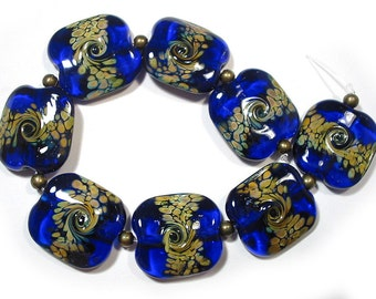 Handmade Lampwork Glass   Beads,  Blue Squeezed Raku Beads