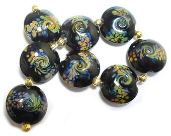 Midnight Black  Raku Squeezed, SRA Handmade Glass Lampwork Beads