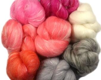 Peony -- battlings -- mini batts (2 oz.) organic polwarth wool, tencel, silk, sparkle
