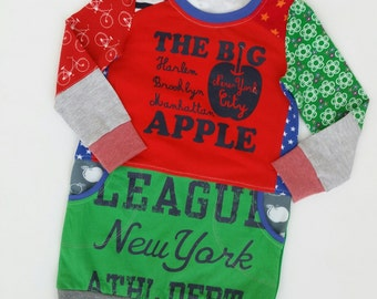 Size 4 (41 inch height) upcycled girls sweaterdress with print big apple