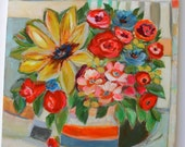 Bright bouquet floral art painting on wood 16x16""