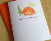 Camping Father's Day Card - Tent Father's Day Card - Happy Father's Day Card - Hand Printed Father's Day Greeting Card