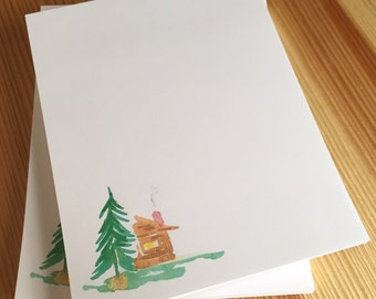 Log Cabin Notepad - Watercolor Cabin Woods Notepad - Personalized or Blank Handmade Notepad - 40 Sheet Notepad