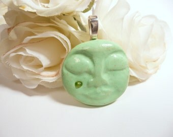 Moon Face Pendant, Sleeping Moon Jewelry, Apple Green, Moon Necklace, Celestial Jewelry Dreaming Moon with Tear polymer clay fashion jewelry