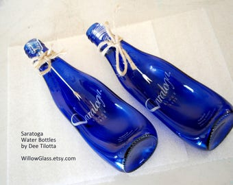Recycled Glass Bottle, Fused Slumped Saratoga Cobalt Blue Bottle for Spoonrest, Crackers, Willow Glass