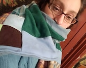 Upcycled Granny Square Flannel and Plaid Patchwork Scarf