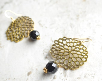 The Mum- Gold and Black Glass Earrings