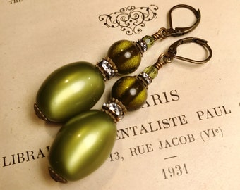 Olive Green Moonglow Lucite Earrings