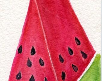 watercolor painting, Watermelon Wedge, Fruit watercolor art 4 x 6 original painting watermelon illustration, kitchen art decor, illustration