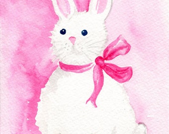 Bunny Watercolor Painting Original, Small bunny wall art, white rabbit artwork  5 x 7 watercolor rabbit  paintings original, bunny pink bow