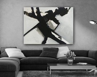 Black and White Abstract Art, custom art, abstract expressionism, modern art, black&white, wall art, canvas art, original art