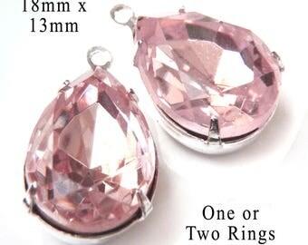 Pink Glass Beads - 18x13 Teardrop - Silver or Brass Settings - 18mm x 13mm Rhinestone Glass Gems - Light Rose - One Pair