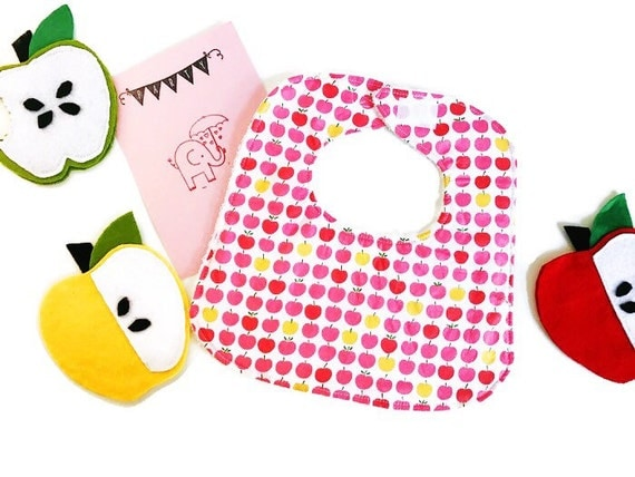 Pink Apples Baby Girl Bib, Infant Bib, Baby Shower Gift, Drool Bib