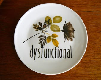 Dysfunctional hand painted vintage bread and butter plate with hanger recycled one of a kind display wall decor