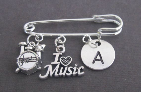 Personalized Musician Kilt Pin,Gift for Music Teacher,Music Instrument Charm Safety Pin,Music Lovers Jewelry,I Love Music,Free Shipping USA