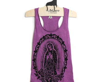 Small- Purple Racerback Tank with Our Lady Screen Print