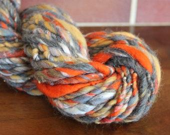 Handspun yarn, super bulky, Merino wool, alpaca, linen, silk and sparkle, 5.4oz - old brick road
