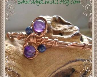 Amethyst Bracelet, Handmade Copper Jewelry, Handmade Copper Bracelet, Wire Wrapped Jewelry, Copper Jewelry, Amethyst and Lapis Cuff Bracelet