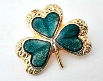 Shamrock Vintage Enamel Lapel Pin Brooch - St. Patrick's St. Patty's Day Pin Jewelry Gift