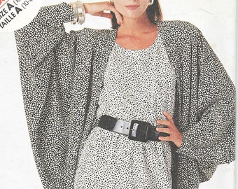 Stitch 'N Save (McCall's) 3562 - Vintage 1980s Oversized Draped COCOON JACKET & DRESS  - Sewing Pattern - Size 10-12-14 - Uncut