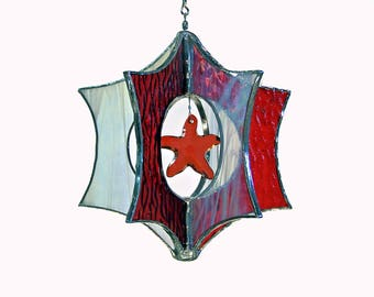 Coral Stained Glass Suncatcher