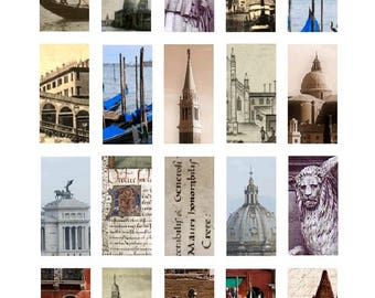 Venice Domino - 1x2 Inch - Digital Collage Sheet - Instant Download