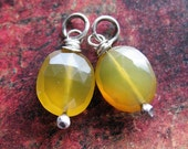 Faceted Primrose Yellow Chalcedony Bead Charm - 1 Pair - 20mm in length