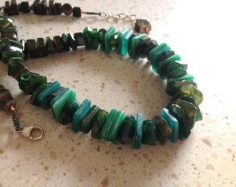 Tsavorite Garnet necklace, green, long necklace