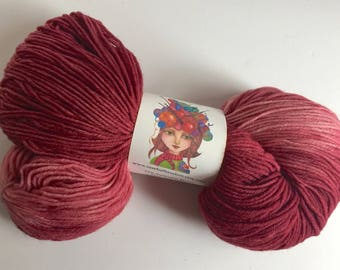 Hand Dyed, Deep Rich Red to Light medium Red- Tonal Sock Yarn, Knitting, Crochet, Indie Dyer, Superwash Fingering Weight 462 Yards