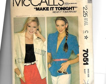 McCall's Misses' Blazer Pattern 7051
