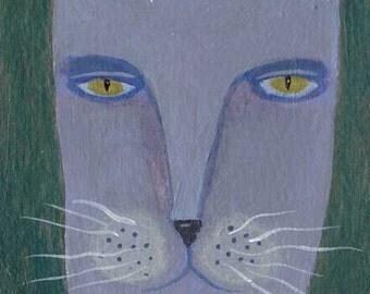 Purple Cat Painting, Cat Art, Original ACEO, Folk Art, Cat Illustration, Naive, Small Art, Whimsical Style, Strange Animal, Weird