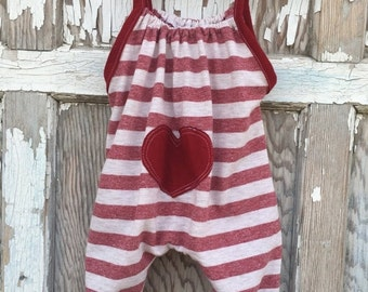 SALE- Whimsies Baby Romper-Eco Friendly-Valentines Baby-T shirt Cotton-0-3m
