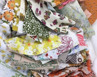 40% OFF- Floral Scrap Fabrics-Scrap Builder Stash-Get Your Fix- Reclaimed Scrap Bundle-