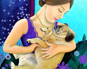 Puggle Dog Art Mama and Baby Series Fine Art Print by Carol Iyer