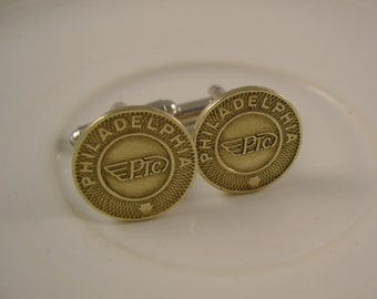 Fine in Philly - Vintage Authentic Philadelphia Pennsylvania Transit Company Token Cufflinks, Mens Gift, Groomsman gift