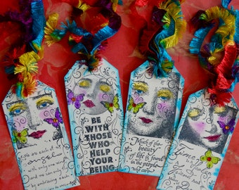 Inspirational Collage Tags Set of Four vintage face altered healing art journal book collage
