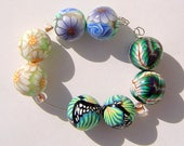 Colorful Round Earring Pairs Four Sets Handmade Artisan Polymer Clay Bead Pairs