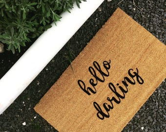 hello darling. Natural CoCo Fiber Modern Tagged Outdoor Welcome Mat Custom doormat