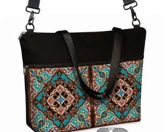 "17 inch Laptop Tote Bag Womens Briefcase Crossbody Laptop Bag 15.6""  Messenger Laptop Case Boho Bohemian Mandala turquoise blue orange MTO"