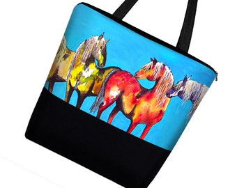 Clara Nilles Pony Horse Large Tote Bag with Zipper / Boy Diaper Bag Baby / Canvas Tote Bag w/ Pockets / Book Bag  blue red yellow MTO