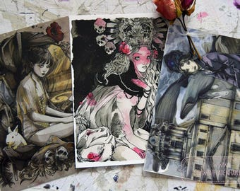Art Card - Postcard - Stationery - Victorian Age - Gothic Art - Victorian Fashion - Anime Style