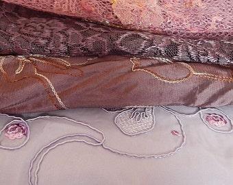 4 purple fabrics, lace fabric, net fabric, embroidered fabrics