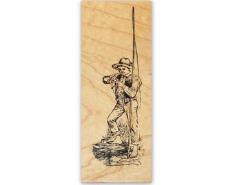 Boy with Fishing Pole mounted rubber stamp, summer fun, old fashioned, vintage style, days gone by, Crazy Mountain Stamps #1
