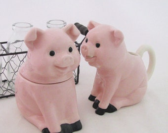 Ceramic Pig Sugar Bowl And Cream Pitcher Set Country Farm Pink Pig Kitchen Decor