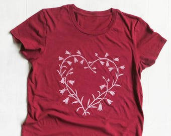 Valentine's Day Womens Organic Cotton T Shirt - Womens Graphic Tee - Red Crew Neck Tee Shirt - Bluebell Heart Design Screen Printed Shirt
