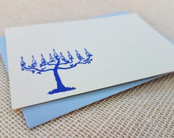 Letterpress Enclosure Card - Menorah