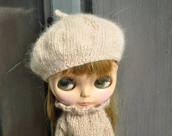 Babydoll Longhair Angola Wool Pale Khaki Beret for Blythe Doll